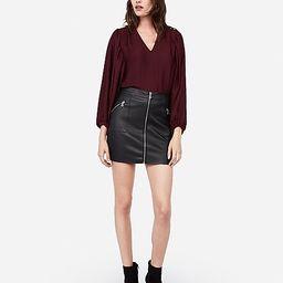 high waisted zip front vegan leather mini skirt | Express