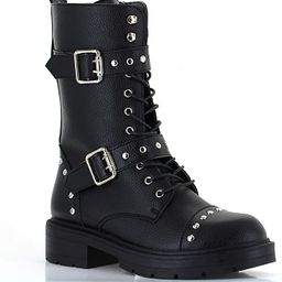 Women's Studded Buckle Strap Combat Boots Vegan Leather High Boots Lugged-Sole   Amazon (US)