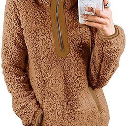 Womens Fleece Sherpa Fuzzy Zipper Long Sleeve Loose Pullover Fashion Contrast Color-Block Pockets... | Amazon (US)