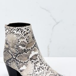 Hard To Miss Beige Snake Print Boots | Red Dress