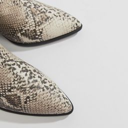 Qupid pointed snake western ankle boots | ASOS US