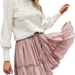 Miessial Women's Crew Neck Lantern Sleeve Sweater Pullover Elegant Knit Jumper Top   Amazon (US)