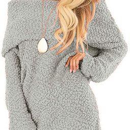 BTFBM Women Elegant Off Shoulders Fuzzy Warm Sherpa Fleece Popcorn Knit Long Sleeve Loose Sweater... | Amazon (US)