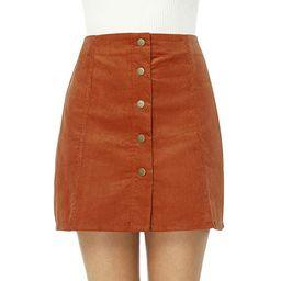 Clarisbelle Women's High Waist Suede Button Closure A-Line Mini Skirt   Amazon (US)