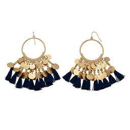 SONOMA Goods for Life™ Gold Tone Mini Disc Detail & Blue Tassel Drop Hoop Earrings | Kohl's