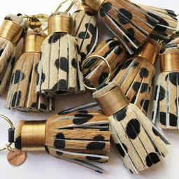 The Original Mini Cheetah Print Tassel Keychain - hair on hide leather | Etsy (US)