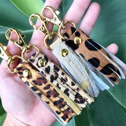 Leather Leopard Cheetah tassel fringe, Glam leather tassel Gold Leather Tassel Keychain, Tassel P... | Etsy (US)
