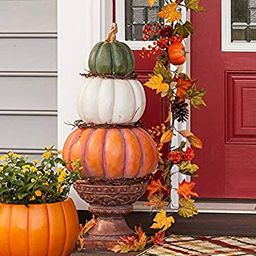 Plow & Hearth Pumpkin Stack Topiary with Urn - 15.25'' Dia. x 36.25''H   Amazon (US)