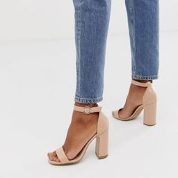 New Look barely there block heeled sandal in beige patent | ASOS UK