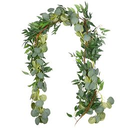Outgeek 6.5' Long Artificial Eucalyptus and Willow Leaves Hanging Greenery Garland Artificial Vin...   Amazon (US)