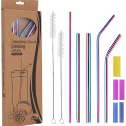 Metal Straws Reusable Stainless Steel Straws with Silicone Tip, 7 pack Full Variety Wide Diameter...   Amazon (US)