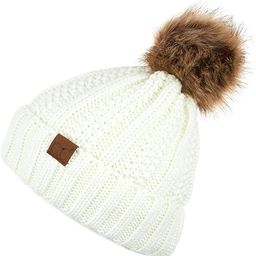 C.C Exclusives Fuzzy Lined Knit Fur Pom Beanie Hat (YJ-820)   Amazon (US)