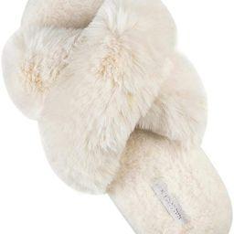 Women's Cross Band Soft Plush Fleece House/Outdoor Slippers   Amazon (US)