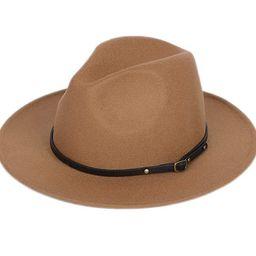 Lanzom Women Lady Retro Wide Brim Floppy Panama Hat Belt Buckle Wool Fedora Hat   Amazon (US)
