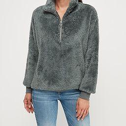 cozy fleece quarter zip sweatshirt | Express