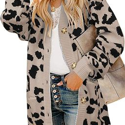 Womens Open Front Leopard Cardigans Oversized Chunky Long Warm Button Down Knit Sweaters Coats wi... | Amazon (US)