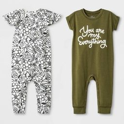 Baby Girls' 2pk Rompers - Cat & Jack™ Olive/White | Target