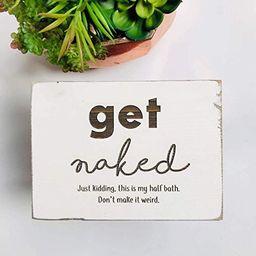 Etch & Ember Funny Bathroom Signs - Get Naked, Half Bath - Farmhouse Style Decor - Rustic Wood Si...   Amazon (US)