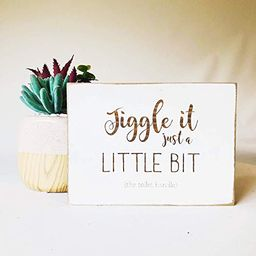 Etch & Ember Funny Bathroom Signs - Jiggle it Just a Little Bit - Farmhouse Style Decor - Rustic ...   Amazon (US)