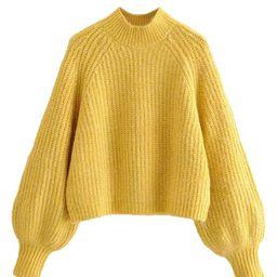 'Kaylee' Crewneck Balloon Sleeve Knit sweater(3 Colors) | Goodnight Macaroon