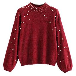 'Sabah' Pearl Studded Mock Neck Sweater (2 Colors) | Goodnight Macaroon