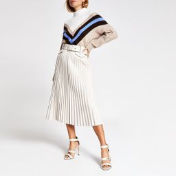 Cream pleated faux leather midi skirt   River Island (UK & IE)