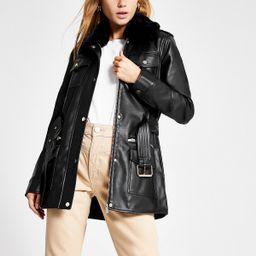 Black faux leather utility army jacket   River Island (UK & IE)