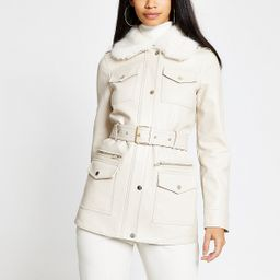 Cream faux leather utility army jacket   River Island (UK & IE)