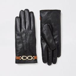 Black chain faux fur lined leather gloves   River Island (UK & IE)