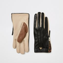 Black colour blocked leather gloves   River Island (UK & IE)