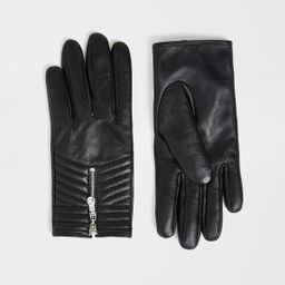 Black quilted leather gloves   River Island (UK & IE)