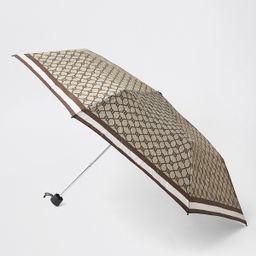 Brown compact RI monogram umbrella   River Island (UK & IE)