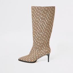 Beige RI monogram knee high pointed boots   River Island (UK & IE)
