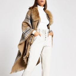 Brown check fur trim cape   River Island (UK & IE)