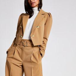 Petite light brown cropped blazer | River Island (UK & IE)