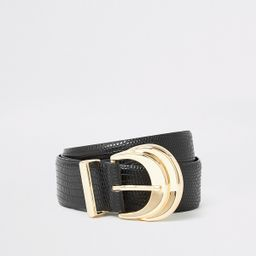 Black double layered buckle embossed belt | River Island (UK & IE)