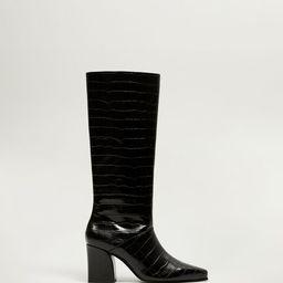 Croc-effect boots | MANGO (US)