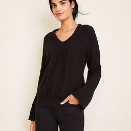 V-Neck Cable Sweater   Ann Taylor   Ann Taylor (US)