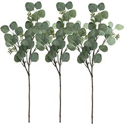 SUPLA 3 Pcs Faux Eucalyptus Leaves Spray Artificial Seeded Silver Dollar Eucalyptus Leaves Branch... | Amazon (US)
