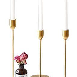 ZONYEO Set of 3 Metal Taper Candle Holder Creative Golden Wedding Romantic Candlestick Decoration... | Amazon (US)