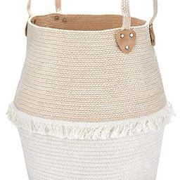 Rope Basket Woven Storage Basket - Laundry Basket Large 16 x 15 x 15 Inches Cotton Blanket Organi... | Amazon (US)