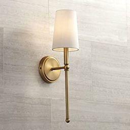 "Greta 21"" High Warm Brass Wall Sconce with Linen Shade - Regency Hill | Amazon (US)"