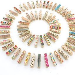 Z ZICOME 100pcs Mini Colorful Natural Wooden Photo Paper Peg Pin Clothespin Craft Clips   Amazon (US)