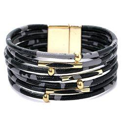 MUDEREK Women Leopard Bracelet Metal Pipe Charm Multilayer Wide Leather Wrap Bangle Gift Bangle | Amazon (US)