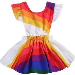 Summer Dress for Toddler Girls Fly Sleeve Rainbow Striped Dress Backless Beach Sundress | Amazon (US)