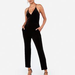 velvet v-neck cami jumpsuit | Express