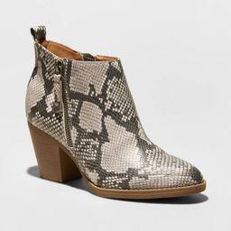 Women's Jameson Faux Leather Snake Double Zip Bootie - Universal Thread™ | Target