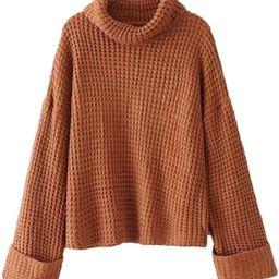 'Retta' Cognac Ribbed Cropped Turtleneck Sweater | Goodnight Macaroon