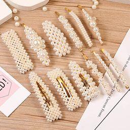 12 Pcs Pearl Hair Clips Large Hair Clips Pins Barrette Ties Hair for Women Girls, Elegant Handmad... | Amazon (US)