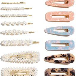 15 Pcs Pearl Hair Clip for Women Acrylic Hair Clips Handmade Pearl Hair Pins for Girls Hair Baret... | Amazon (US)